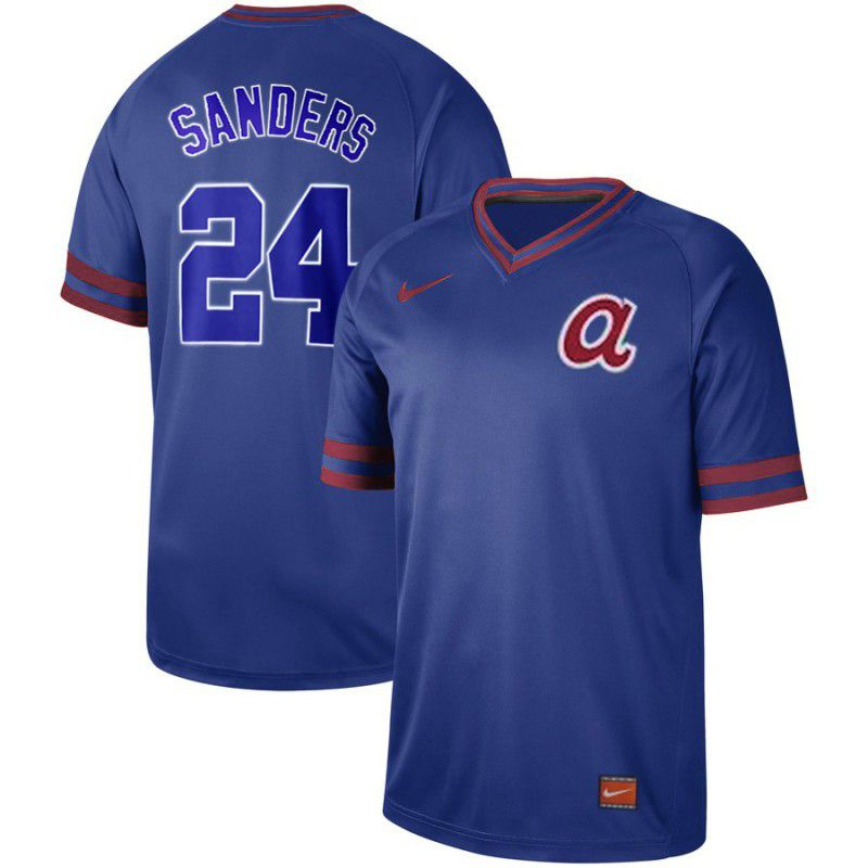 Men Atlanta Braves 24 Sanders Blue Nike Cooperstown Collection Legend V-Neck MLB Jersey