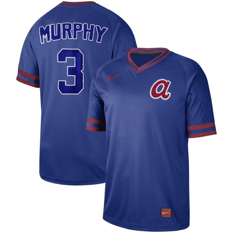 Men Atlanta Braves 3 Murphy Blue Nike Cooperstown Collection Legend V-Neck MLB Jersey