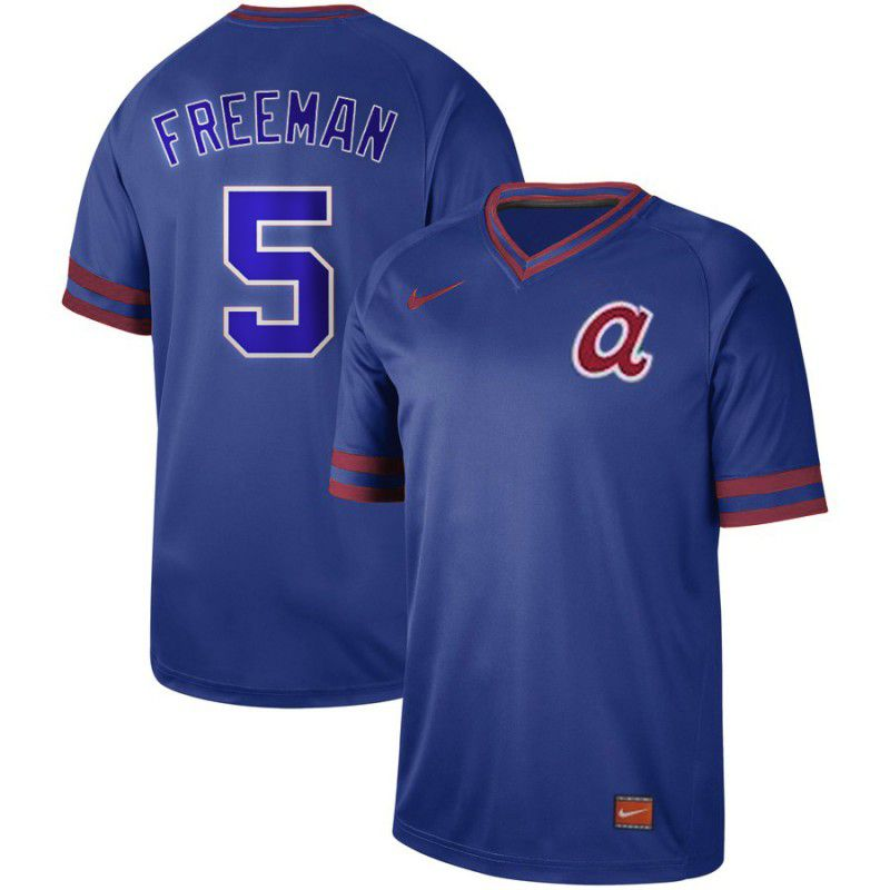 Men Atlanta Braves 5 Freeman Blue Nike Cooperstown Collection Legend V-Neck MLB Jersey