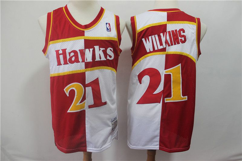 Men Atlanta Hawks 21 Wilkins red and white Throwback spliced NBA Jersey