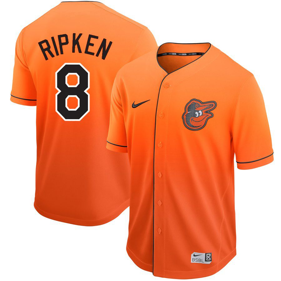 Men Baltimore Orioles 8 Ripken Orange Nike Fade MLB Jersey