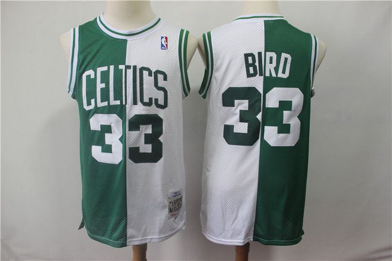 Men Boston Celtics 33 Bird Green and white Throwback spliced NBA Jersey