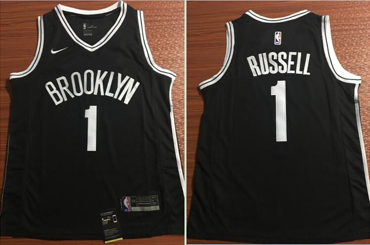 cheap for discount 18e16 3ff62 Men Brooklyn Nets 1 Russell Black Nike Game Stitched NBA ...