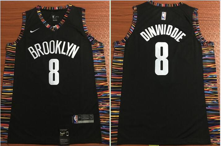 Men Brooklyn Nets 8 Dinwiddie Black Nike Game NBA Jerseys