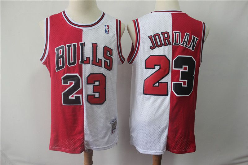 Men Chicago Bulls 23 Jordan red and white Throwback spliced NBA Jersey