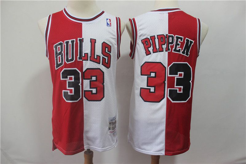 Men Chicago Bulls 33 Pippen red and white Throwback spliced NBA Jersey