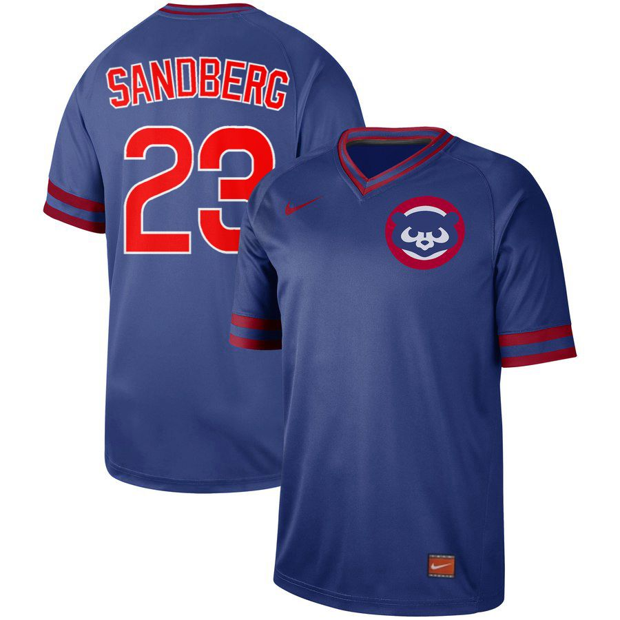 Men Chicago Cubs 23 Sandberg Blue Nike Cooperstown Collection Legend V-Neck MLB Jersey