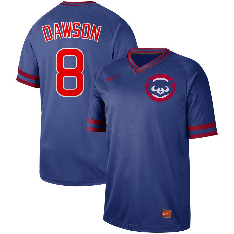 Men Chicago Cubs 8 Dawson Blue Nike Cooperstown Collection Legend V-Neck MLB Jersey