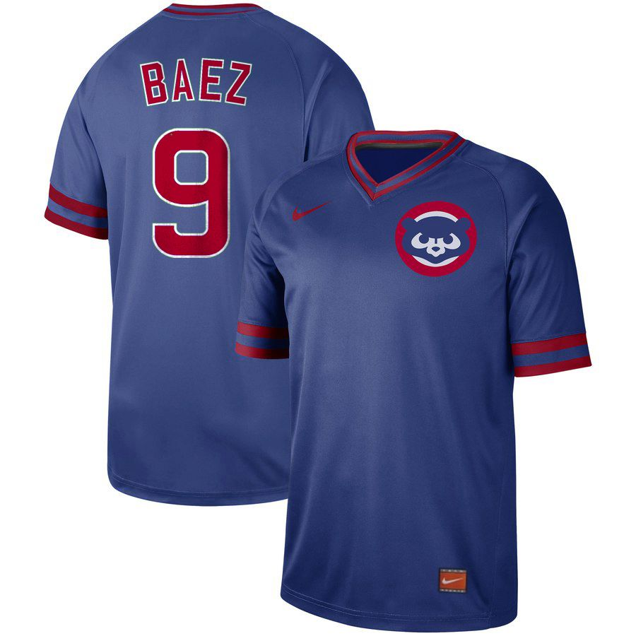 Men Chicago Cubs 9 Baez Blue Nike Cooperstown Collection Legend V-Neck MLB Jersey