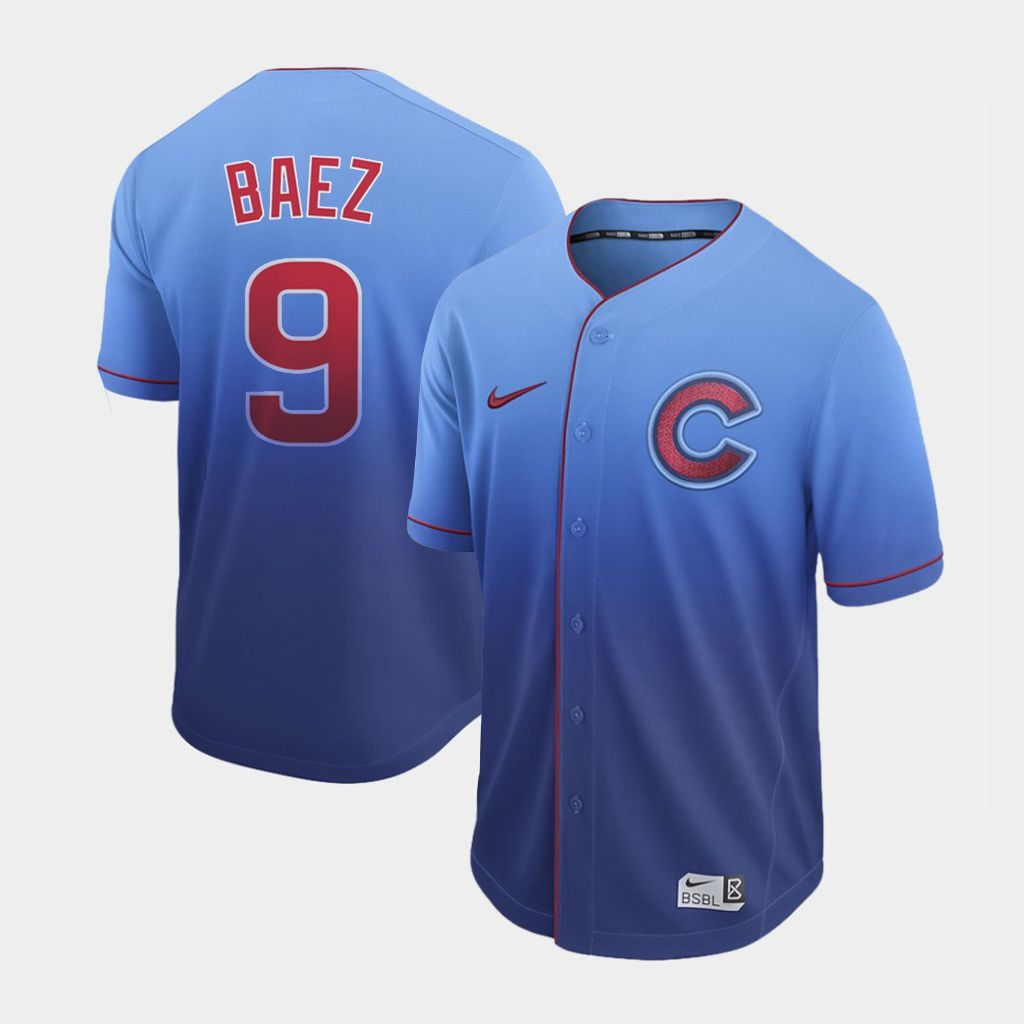 Men Chicago Cubs 9 Baez Blue Nike Fade MLB Jersey