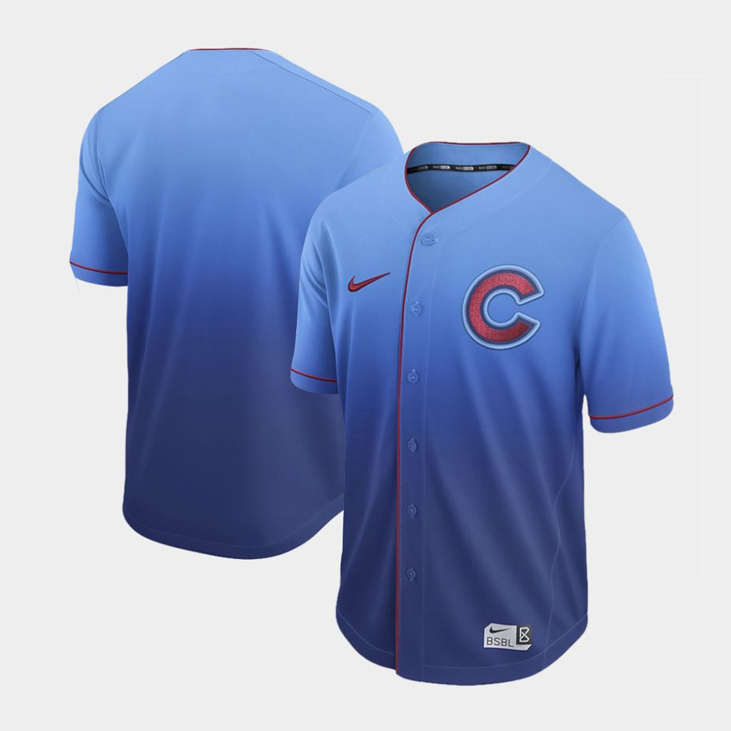Men Chicago Cubs Blank Blue Nike Fade MLB Jersey