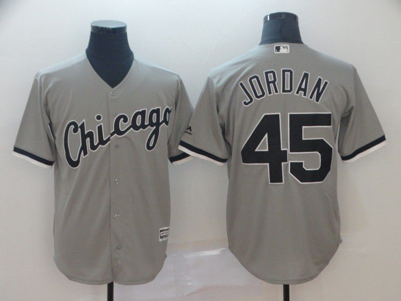 Men Chicago White Sox 45 Jordan Grey Game MLB Jersey