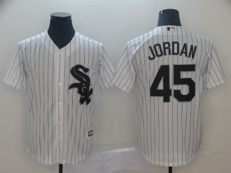 Men Chicago White Sox 45 Jordan White Game MLB Jersey
