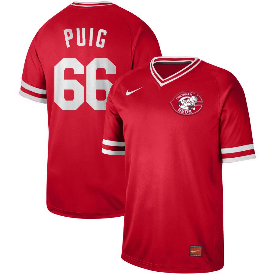 Men Cincinnati reds 66 Puig Red Nike Cooperstown Collection Legend V-Neck MLB Jersey