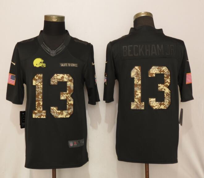 c2ac99e59 Men Cleveland Browns 13 Beckham jr Camo Nike Salute To Service Limited NFL  Jersey