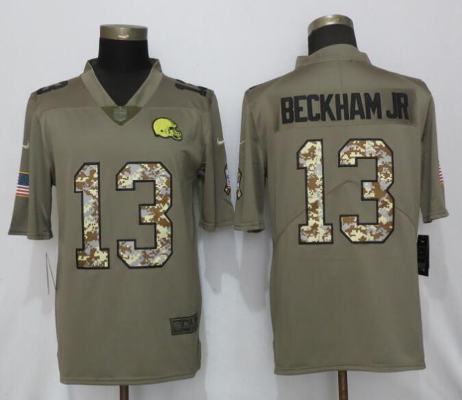 b2c6947d7 Men Cleveland Browns 13 Beckham jr Olive Camo Carson Salute to Service Nike  Limited NFL Jersey