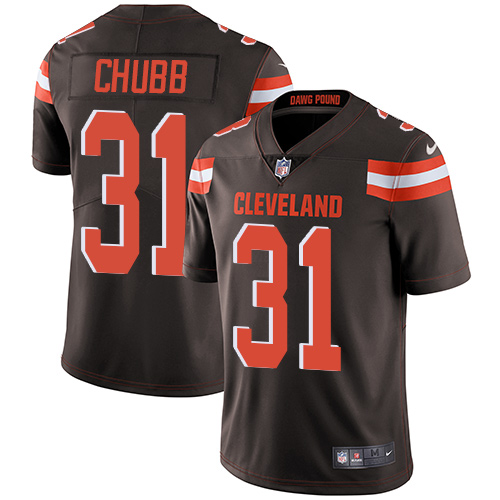 Men Cleveland Browns 31 Nick Chubb Nike brown Vapor Untouchable Limited NFL Jersey