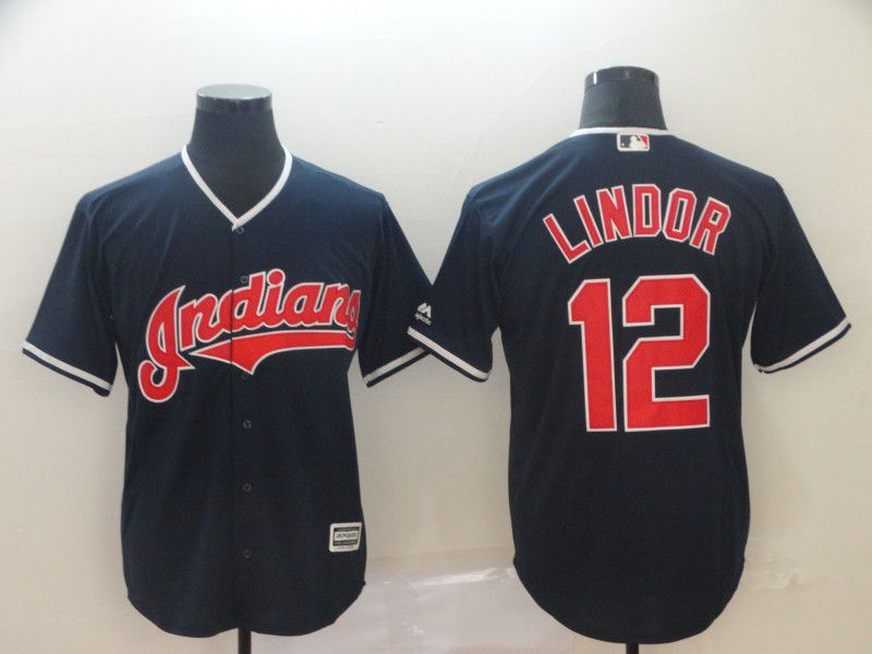 Men Cleveland Indians 12 Lindor Blue Game MLB Jersey