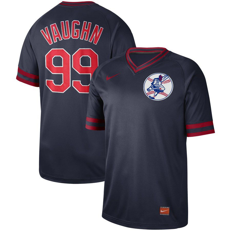 Men Cleveland Indians 99 Vaughn Dark blue Nike Cooperstown Collection Legend V-Neck MLB Jersey