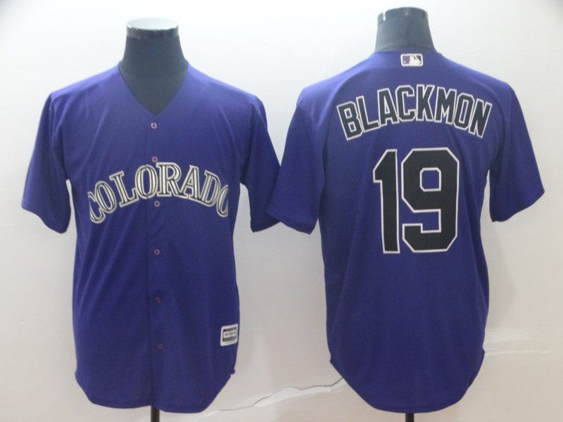 Men Colorado Rockies 19 Blackmon Purple Game MLB Jersey