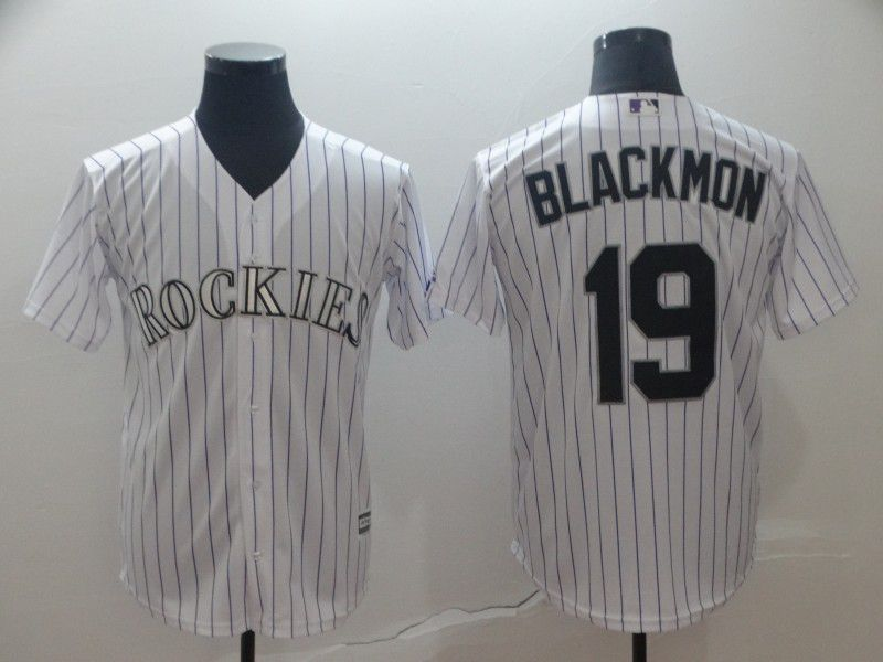 Men Colorado Rockies 19 Blackmon White Game MLB Jersey