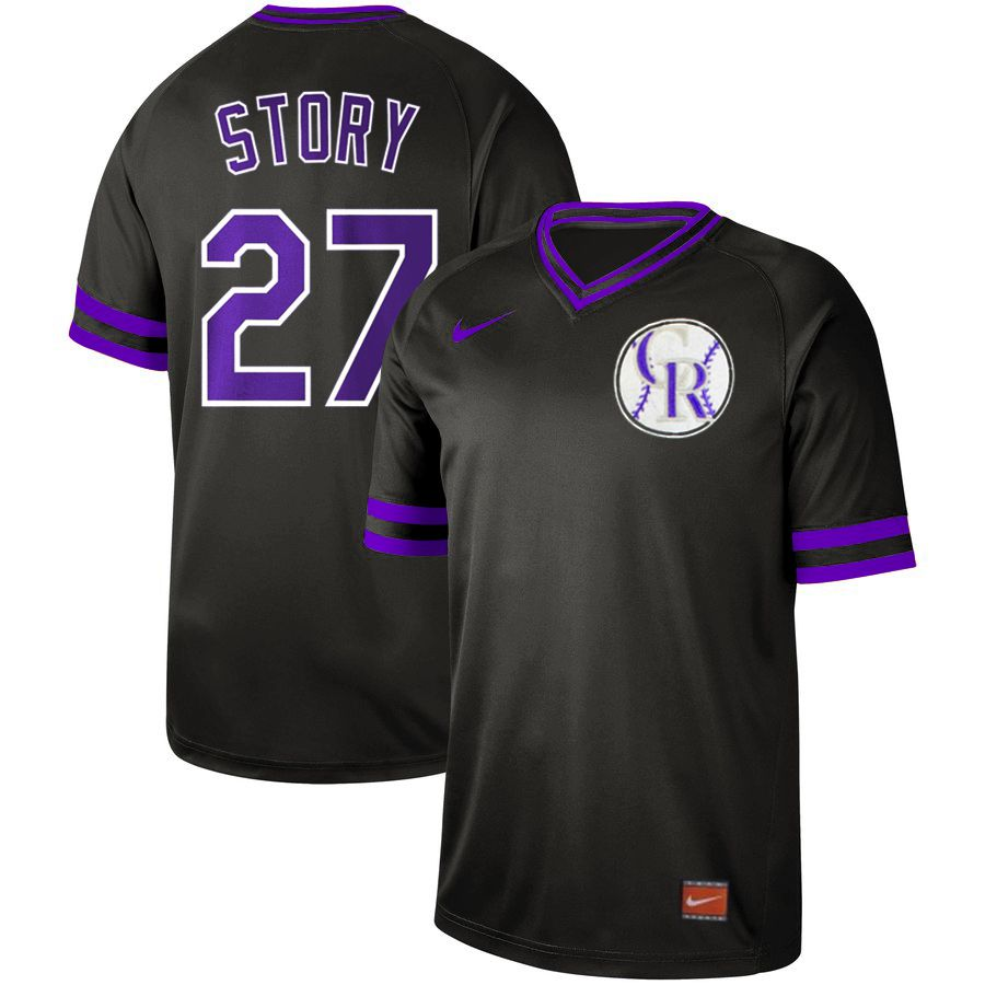 Men Colorado Rockies 27 Story Black Nike Cooperstown Collection Legend V-Neck MLB Jersey