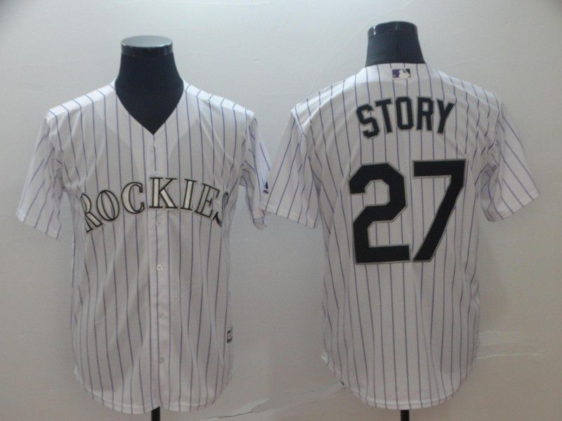 Men Colorado Rockies 27 Story White Game MLB Jersey