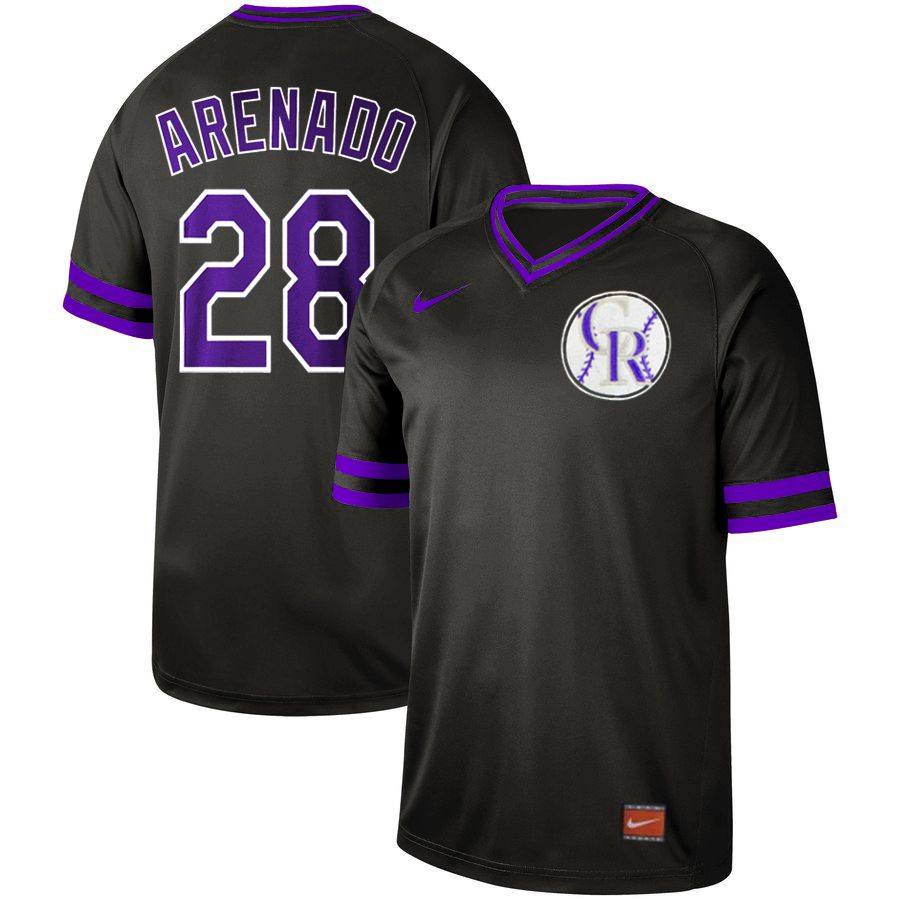Men Colorado Rockies 28 Arenado Black Nike Cooperstown Collection Legend V-Neck MLB Jersey