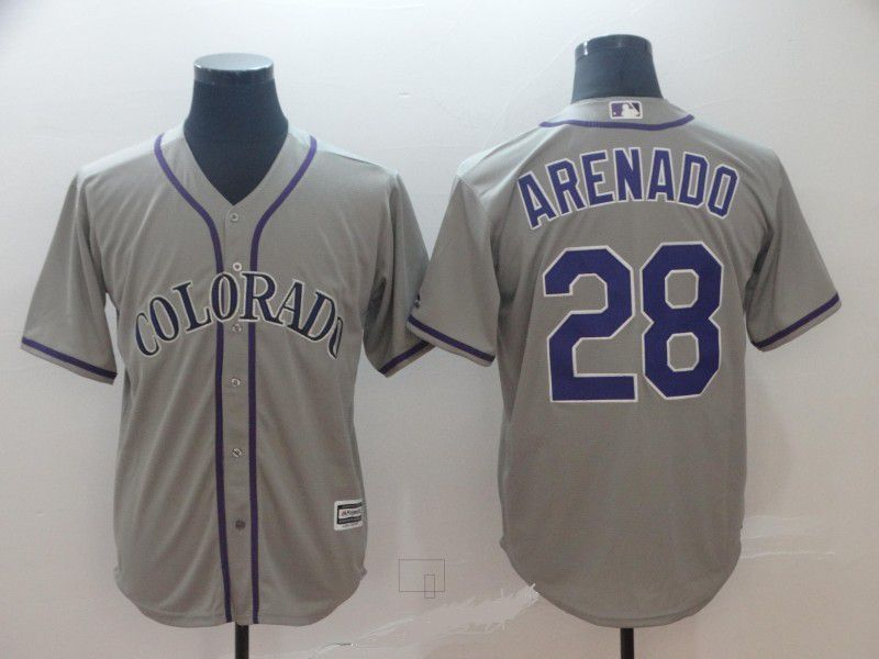 Men Colorado Rockies 28 Arenado Grey Game MLB Jersey