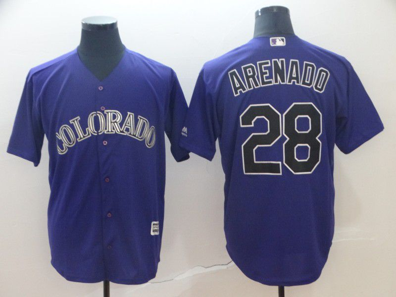 Men Colorado Rockies 28 Arenado Purple Game MLB Jersey
