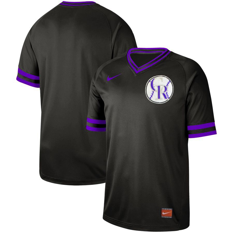 Men Colorado Rockies Blank Black Nike Cooperstown Collection Legend V-Neck MLB Jersey