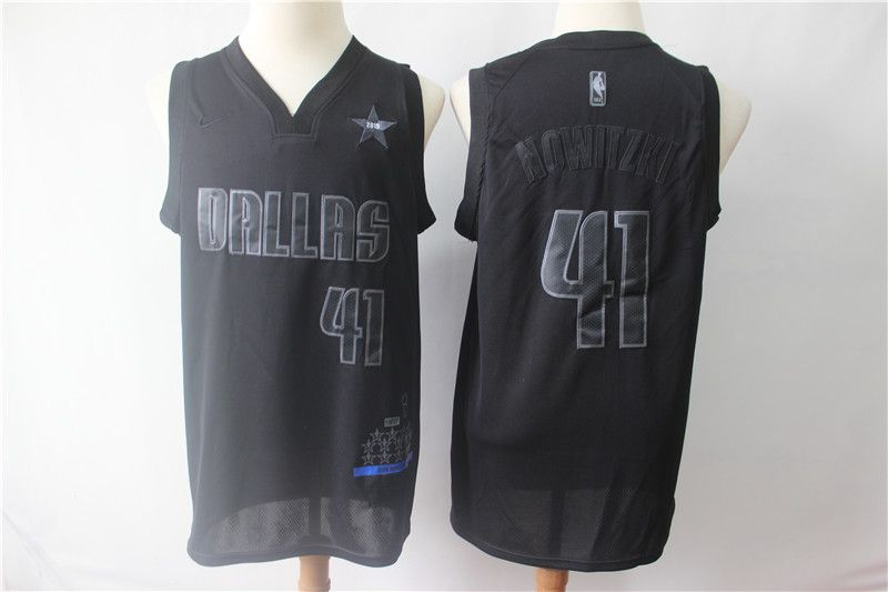 Men Dallas Mavericks 41 Nowitzki Black MVP Honorary Edition NBA Jerseys