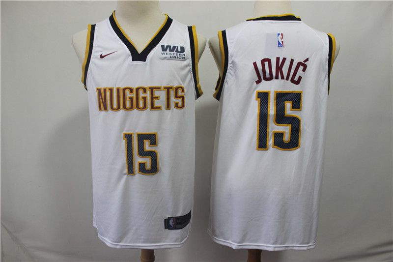 Men Denver Nuggets 15 Jokic White Game Nike NBA Jerseys