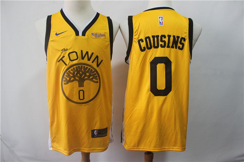 Men Golden State Warriors 0 Cousins Yellow black Game Nike NBA Jerseys