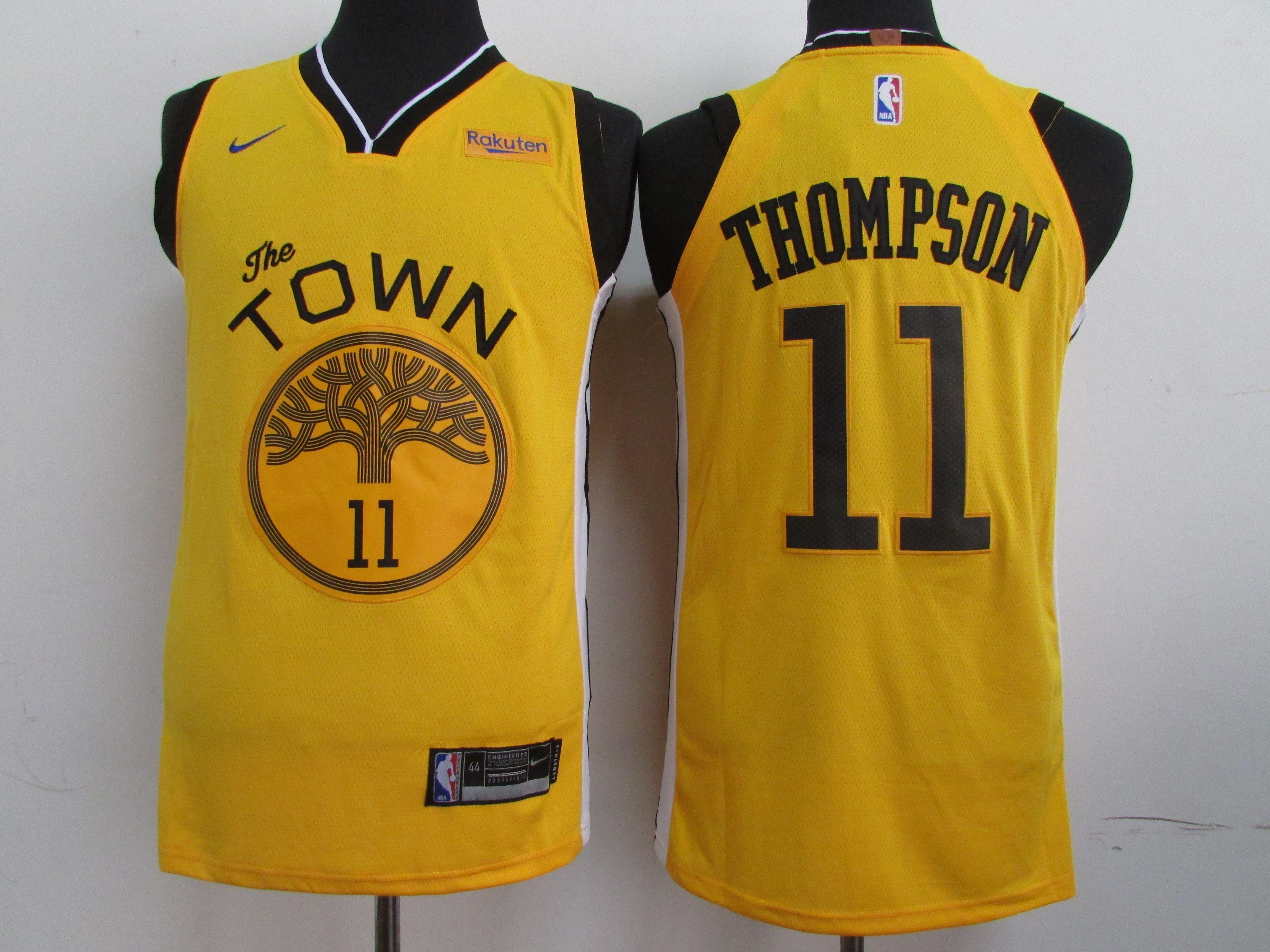 ea75a4877aa Men Golden State Warriors 11 Thompson yellow black Game Nike NBA Jerseys