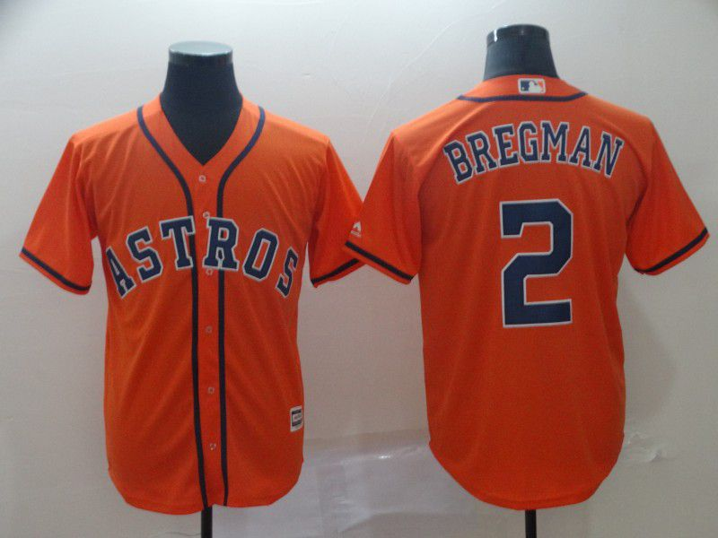 Men Houston Astros 2 Bregman Orange Game MLB Jersey