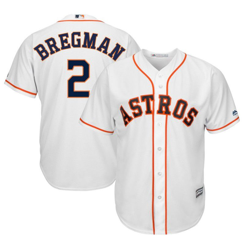 Men Houston Astros 2 Bregman White Game MLB Jersey
