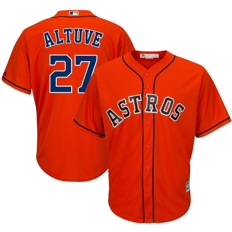 Men Houston Astros 27 Altuve Orange Game MLB Jersey