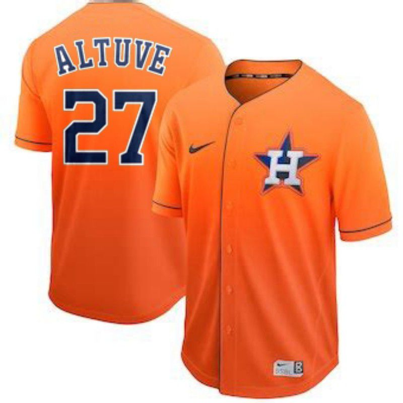 Men Houston Astros 27 Altuve Orange Nike Fade MLB Jersey