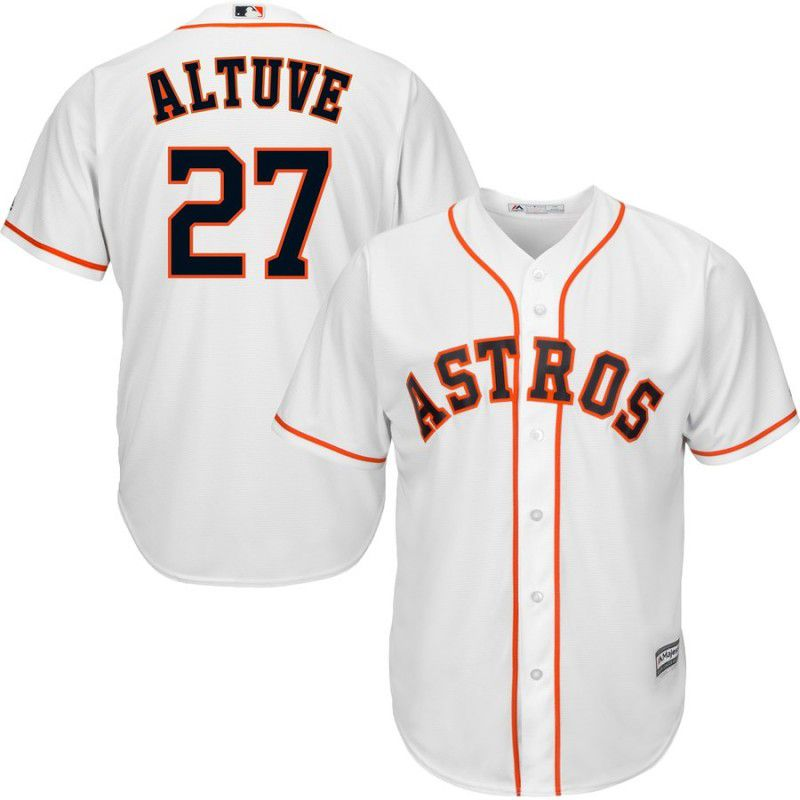 Men Houston Astros 27 Altuve White Game MLB Jersey