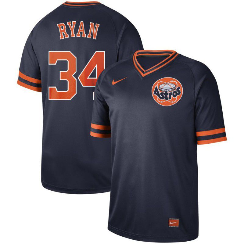 Men Houston Astros 34 Ryan Dark blue Nike Cooperstown Collection Legend V-Neck MLB Jersey