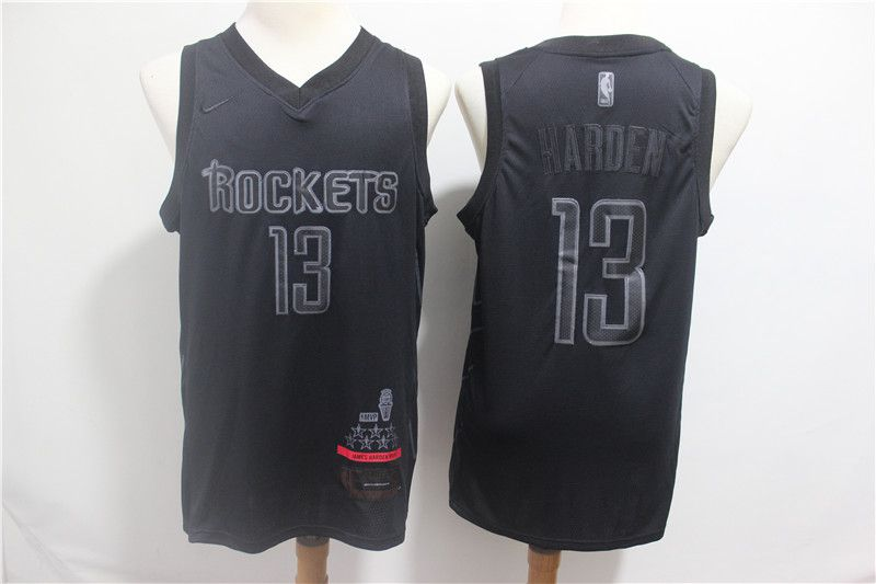 Men Houston Rockets 13 Harden Black MVP Honorary Edition NBA Jerseys