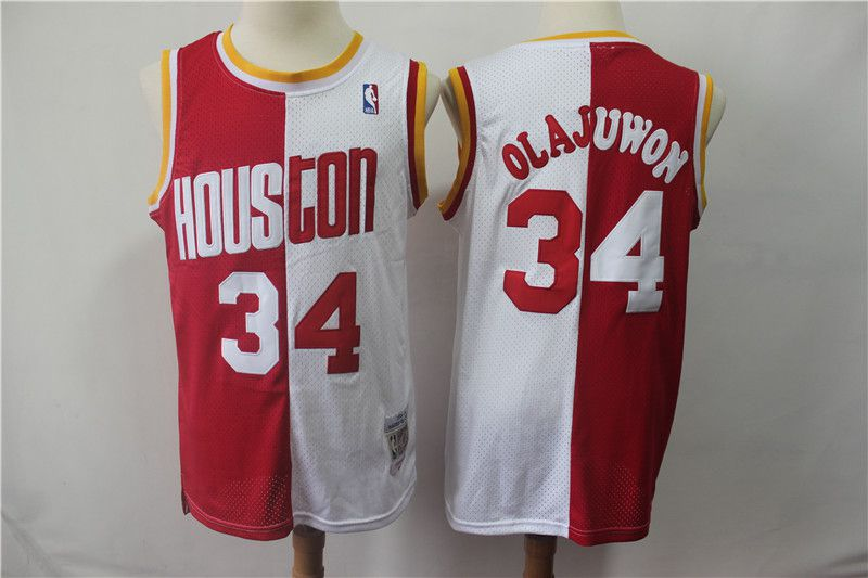 Men Houston Rockets 34 Olajuwon red and white Throwback spliced NBA Jersey