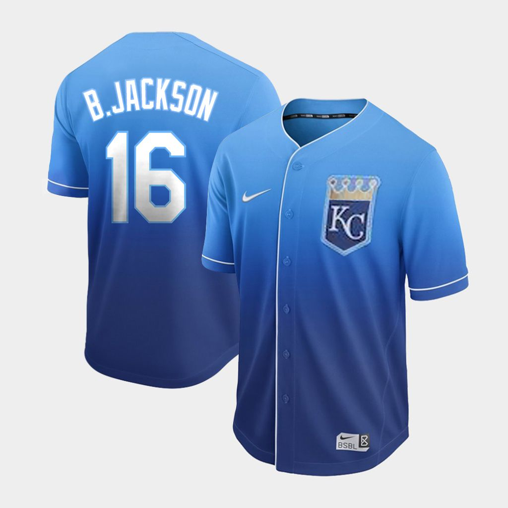 Men Kansas City Royals 16 B.Jackson Blue Nike Fade MLB Jersey