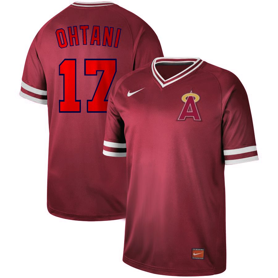 Men Los Angeles Angels 17 Ohtani Red Nike Cooperstown Collection Legend V-Neck MLB Jersey