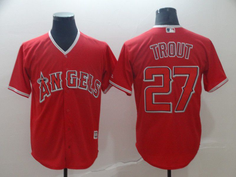 Men Los Angeles Angels 27 Trout Red Game MLB Jerseys