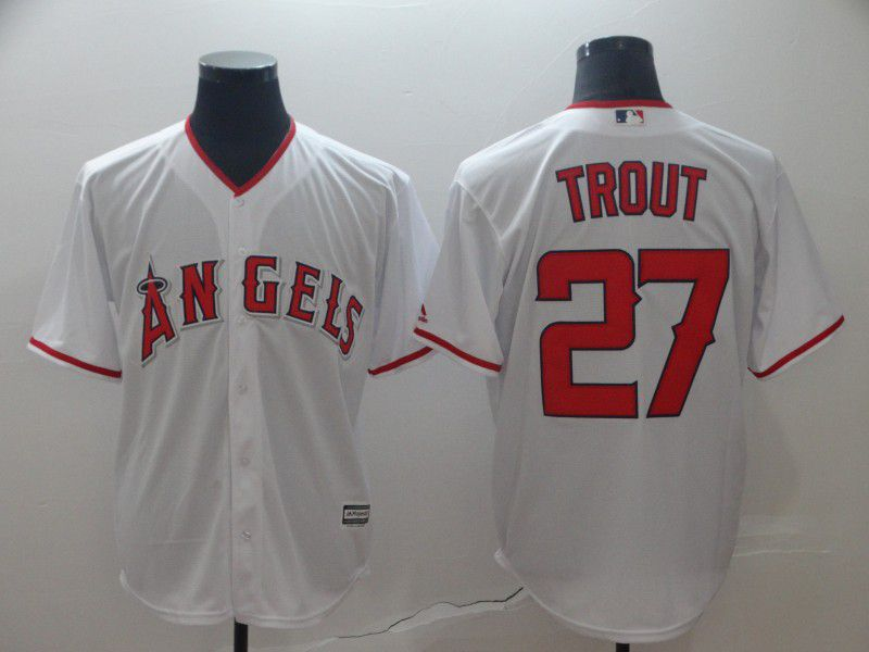 Men Los Angeles Angels 27 Trout White MLB Jerseys