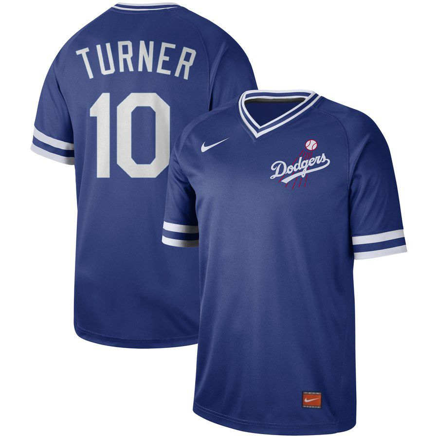 Men Los Angeles Dodgers 10 Turner Blue Nike Cooperstown Collection Legend V-Neck MLB Jersey