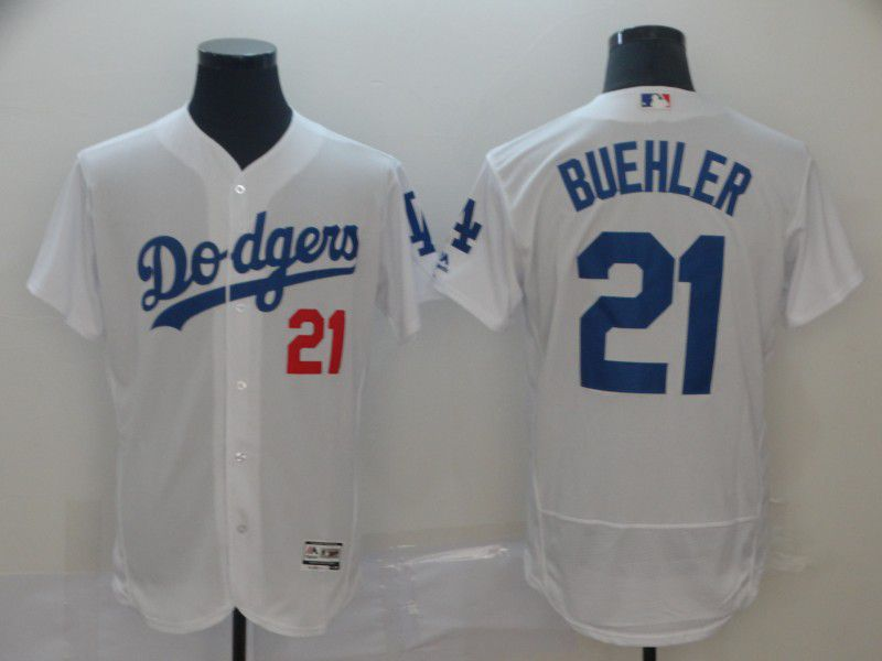 Men Los Angeles Dodgers 21 Buehler White Elite MLB Jersey