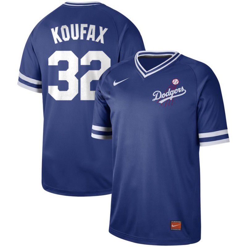 Men Los Angeles Dodgers 32 Koufax Blue Nike Cooperstown Collection Legend V-Neck MLB Jersey